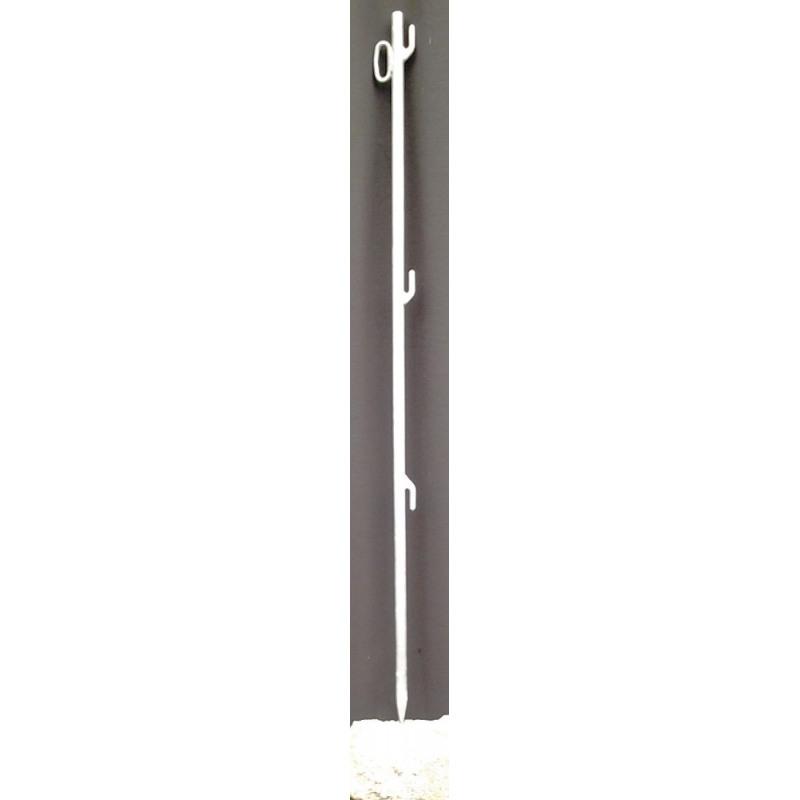 Absperrnetz-Einschlagstab, angespitzt, mit 3 angeschweißten Einhängeschlaufen, 1 Öse