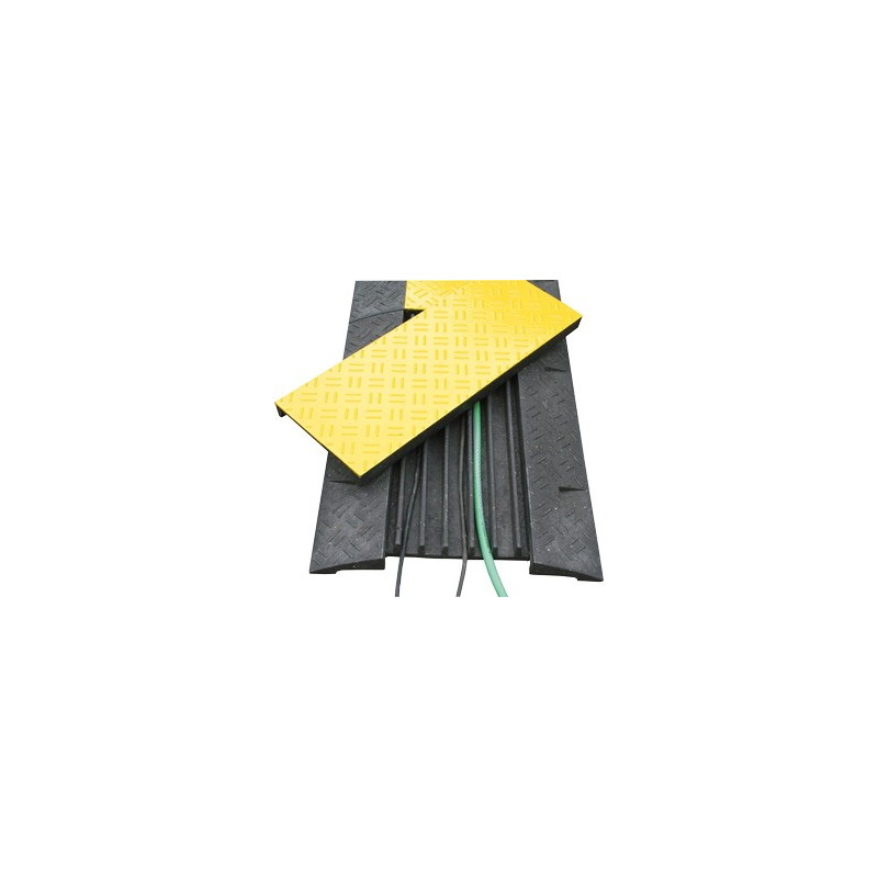 Kabelbrücke, mit gelbem Deckel und Reflektoren
