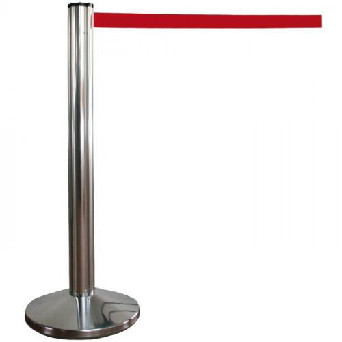 """Chromständer, Gurtständer """"Octa"""" mit 2 m rotem Gurtband"""