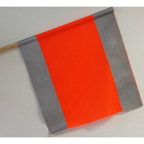 Warnfahne mit Holzstiel, reflektierend, 500 x 500