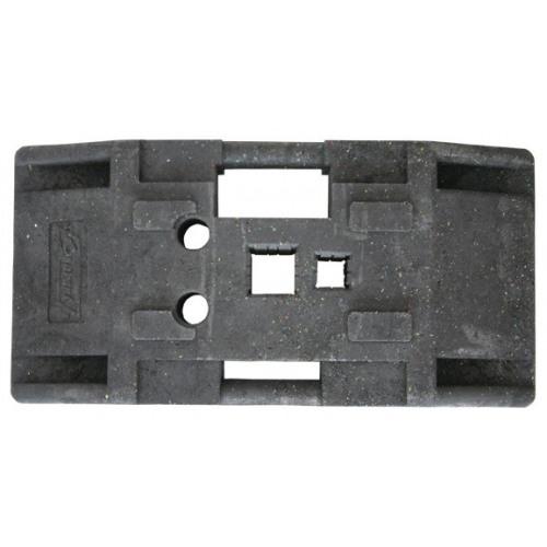 Recycling-Fuß (Bakenfußplatte, Schilderständer), zum Einstecken von Vierkantrohren und Rundrohren, mit Batteriemulde