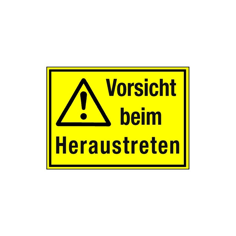 Vorsicht beim Heraustreten (mit Symbol W001)