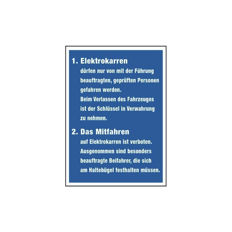 Elektrokarren… Führung... geprüfte Personen... Das Mitfahren ist verboten. Ausgenommen…