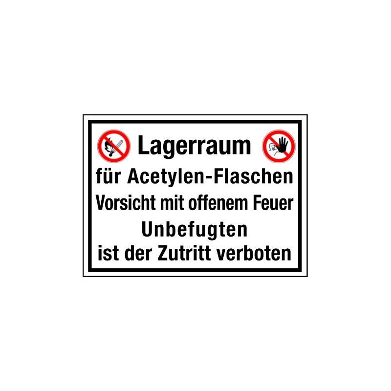 Lagerraum für Acetylen-Flaschen Vorsicht mit offenem Feuer Unbefugten ist der Zutritt verboten (mit Symbolen P003 und D-P006)