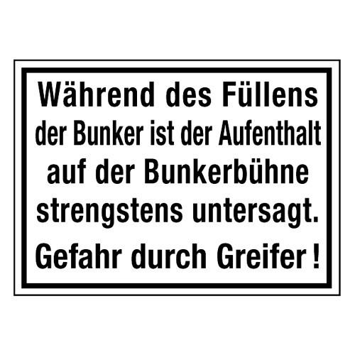 Während des Füllens der Bunker ist der Aufenthalt auf der Bunkerbühne strengstens untersagt. Gefahr durch Greifer!
