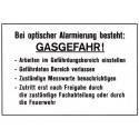 Bei optischer Alarmierung besteht Gasgefahr! … Arbeiten einstellen … Bereich verlassen … Messwarte benachrichtigen …