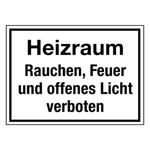 Heizraum Rauchen, Feuer und offenes Licht verboten