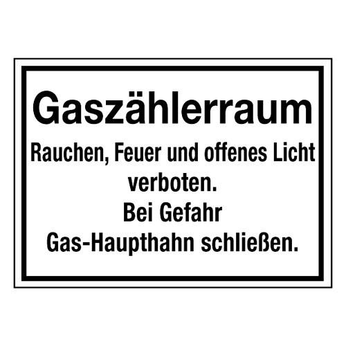 Gaszählerraum Rauchen, Feuer und offenes Licht verboten. Bei Gefahr Gas-Haupthahn schließen.