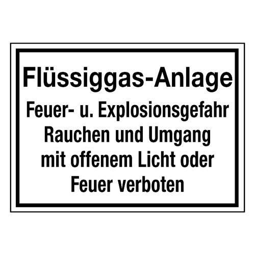 Flüssiggas-Anlage Feuer u. Explosionsgefahr Rauchen und Umgang mit offenem Licht oder Feuer verboten