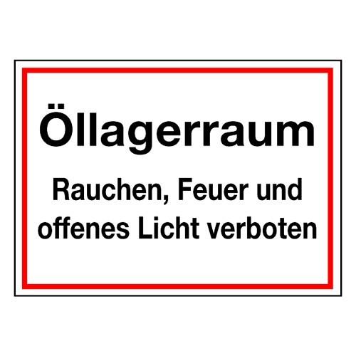Öllagerraum Rauchen, Feuer und offenes Licht verboten