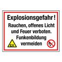 Explosionsgefahr! Rauchen, offenes Licht und Feuer verboten. Funkenbildung vermeiden (mit Symbolen D-W021 und P003)