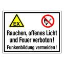 Rauchen, offenes Licht und Feuer verboten! Funkenbildung vermeiden! (mit Symbolen D-W021 und P003)