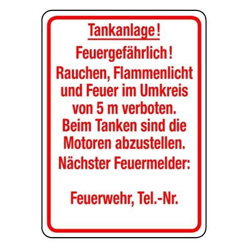 Tankanlage! Feuergefährlich! Rauchen, Flammenlicht und Feuer im Umkreis von 5 m verboten. Beim Tanken sind die Motoren…
