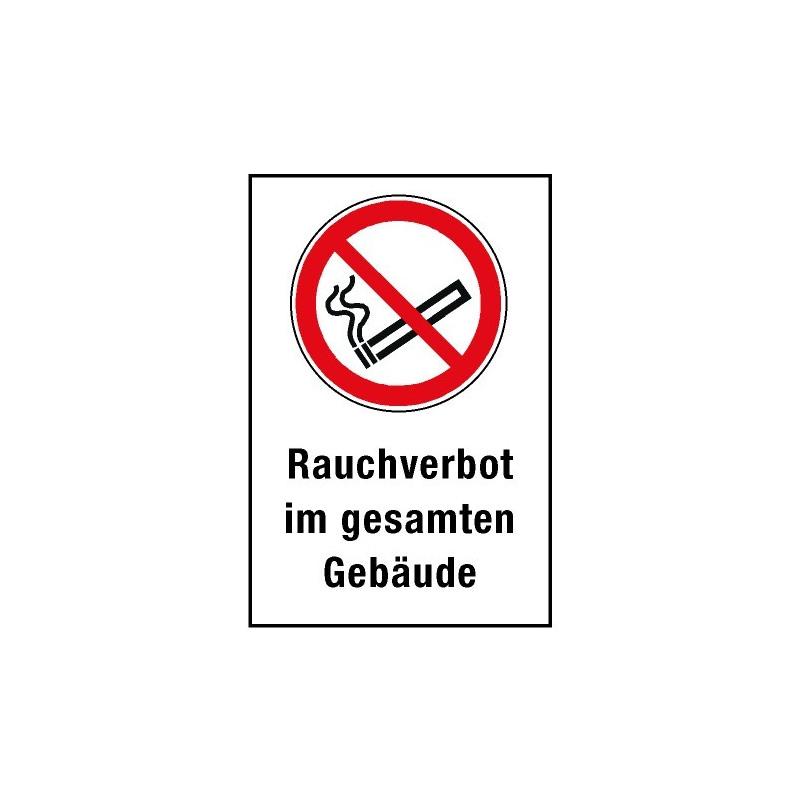 """Kombischild """"Rauchverbot im gesamten Gebäude"""" - P002"""