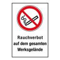 """Kombischild """"Rauchverbot auf dem gesamten Werksgelände"""" - P002"""