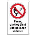 """Kombischild """"Feuer, offenes Licht und Rauchen verboten"""" - P003"""