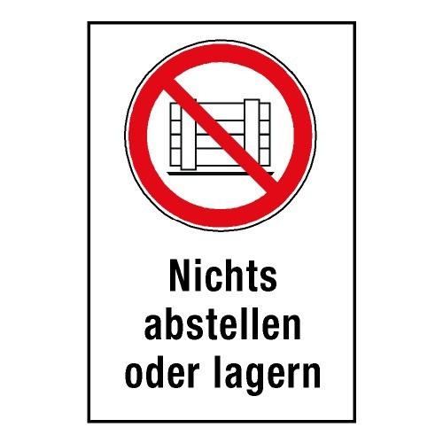 """Kombischild """"Nichts abstellen oder lagern"""" - P023"""