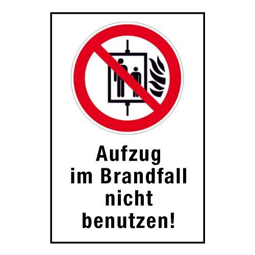 """Kombischild """"Aufzug im Brandfall nicht benutzen"""" - P020"""