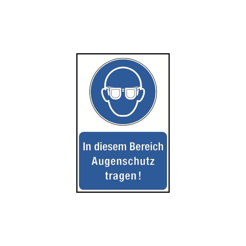 """Kombischild """"In diesem Bereich Augenschutz tragen!"""" - M004"""