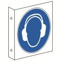 Fahnenschild: Gehörschutz benutzen - M003