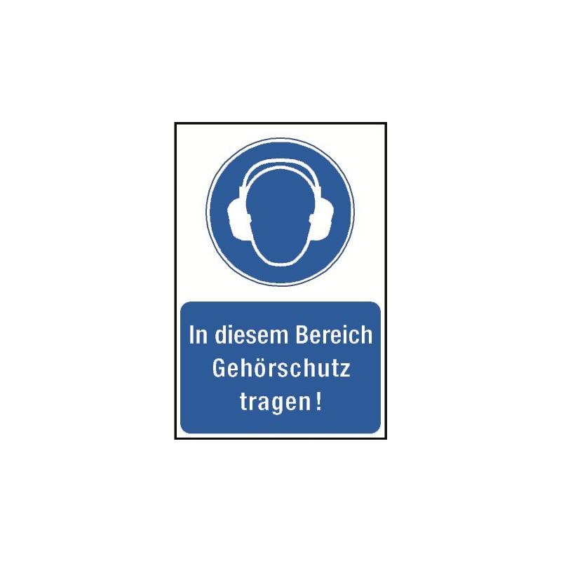 """Kombischild """"In diesem Bereich Gehörschutz tragen!"""" - M003"""