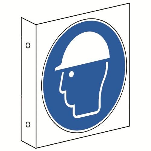 Fahnenschild: Kopfschutz benutzen - M014