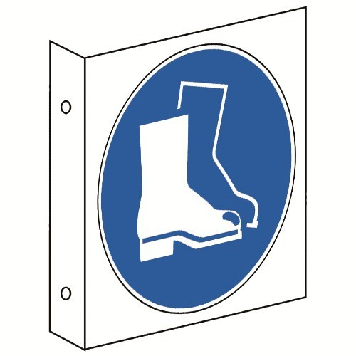 Fahnenschild: Fußschutz benutzen - M008