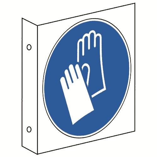 Fahnenschild: Handschutz benutzen - M009