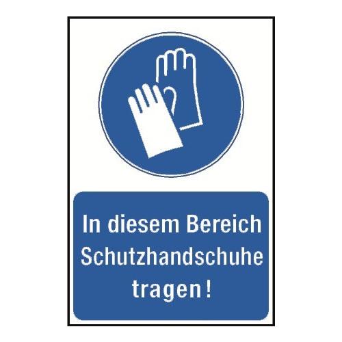"""Kombischild """"In diesem Bereich Schutzhandschuhe tragen!"""" - M009"""
