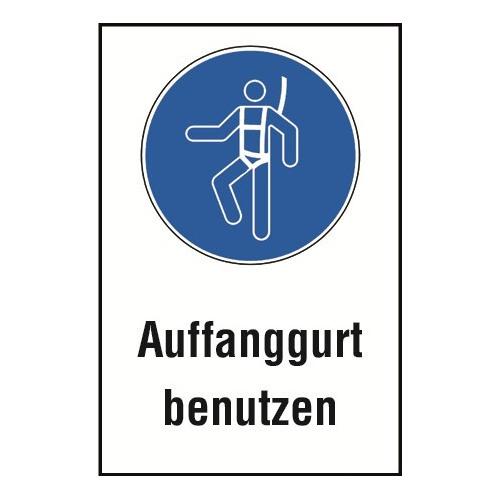 """Kombischild """"Auffanggurt benutzen"""" - M018"""