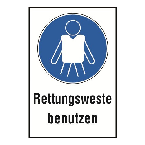 """Kombischild """"Rettungsweste benutzen"""" - WSM001"""