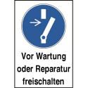 """Kombischild """"Vor Wartung oder Reparatur freischalten"""" - M021"""