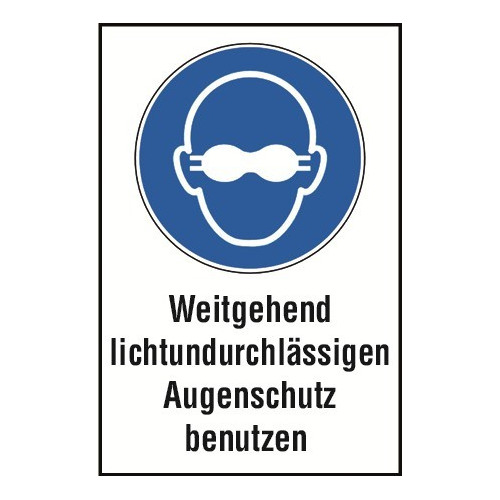 """Kombischild """"Weitgehend lichtundurchlässigen Augenschutz benutzen"""" - DIN EN ISO 7010 - M007"""