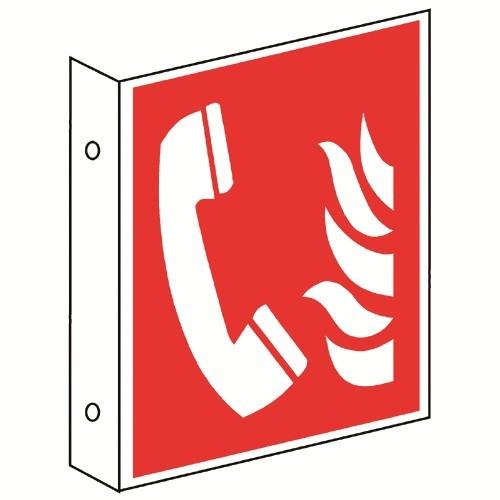 Fahnenschild: Brandmeldetelefon - F006