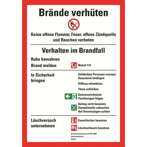Brände verhüten, DIN 14096, Brandschutzordnung Teil A