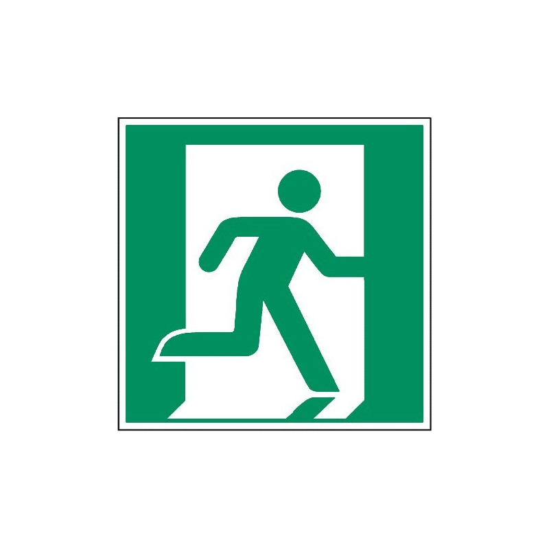 Rettungsweg/Notausgang rechts (nur in Verbindung mit Richtungsangabe) - E002