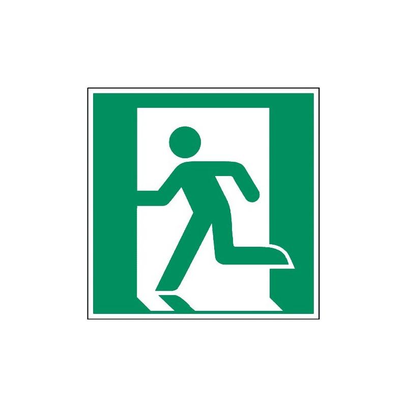 Rettungsweg/Notausgang links (nur in Verbindung mit Richtungsangabe) - E001