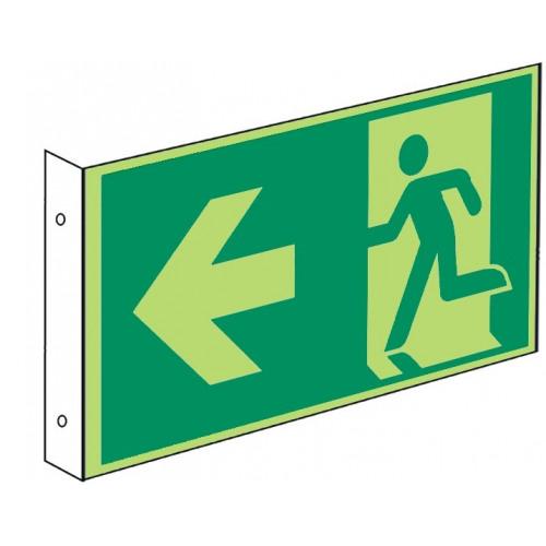 Fahnenschild: Rettungsweg - E001-E002