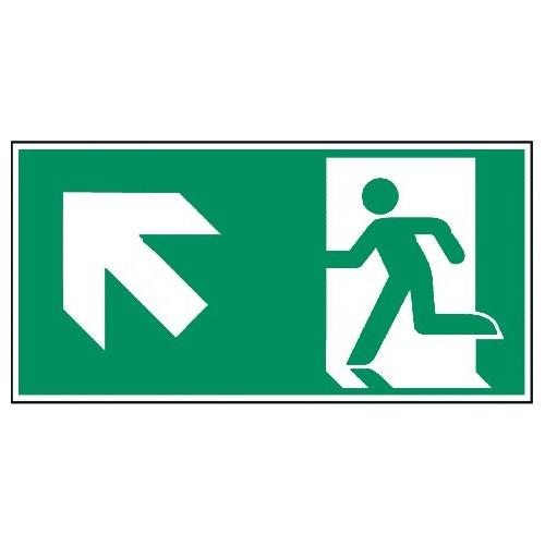 Megaschild: Rettungsweg, links aufwärts - E001