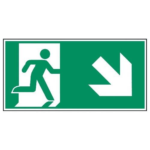 Megaschild: Rettungsweg, rechts abwärts - E002