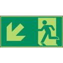 Megaschild: Rettungsweg, links abwärts - E001