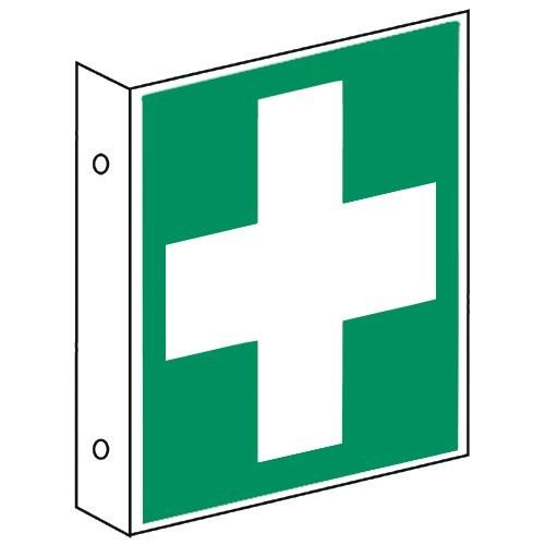 Fahnenschild: Hinweis auf Erste Hilfe - E003
