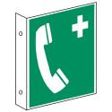 Fahnenschild: Notruftelefon - E004