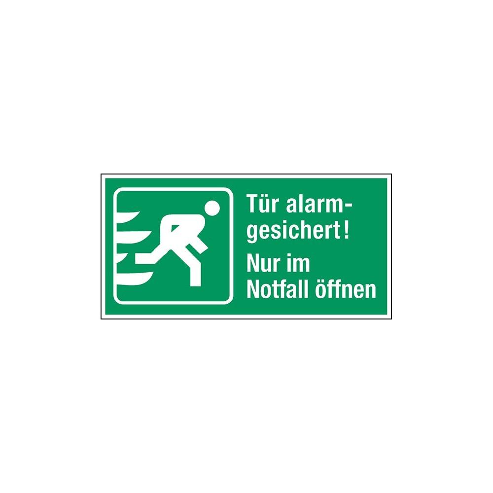 Rettungsschild t r alarmgesichert nur im notfall ffnen for Schlusseldienst tur offnen