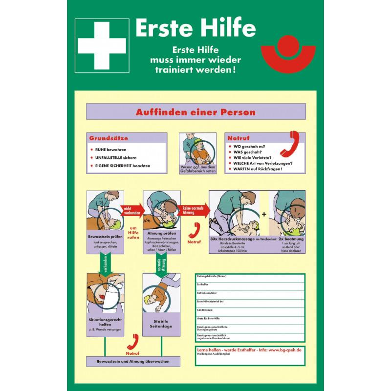 Anleitung zur Ersten Hilfe gemäß DGUV 204-001 bis 004 (ehemals GBI/GUV-I 510) (zum Selbstbeschriften)