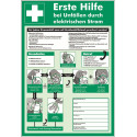 Erste Hilfe bei Unfällen durch elektrischen Strom, praxisbewährt (zum Selbstbeschriften)