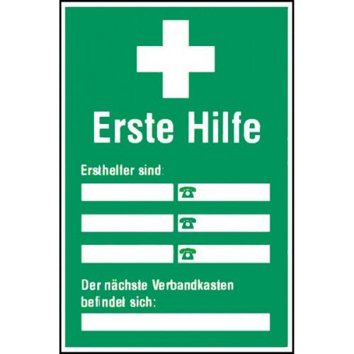 """Info-Schild """"Ersthelfer sind..."""" (zum Selbstbeschriften)"""