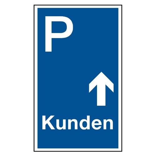 """Parkplatzschild """"Kunden mit Pfeil geradeaus"""""""