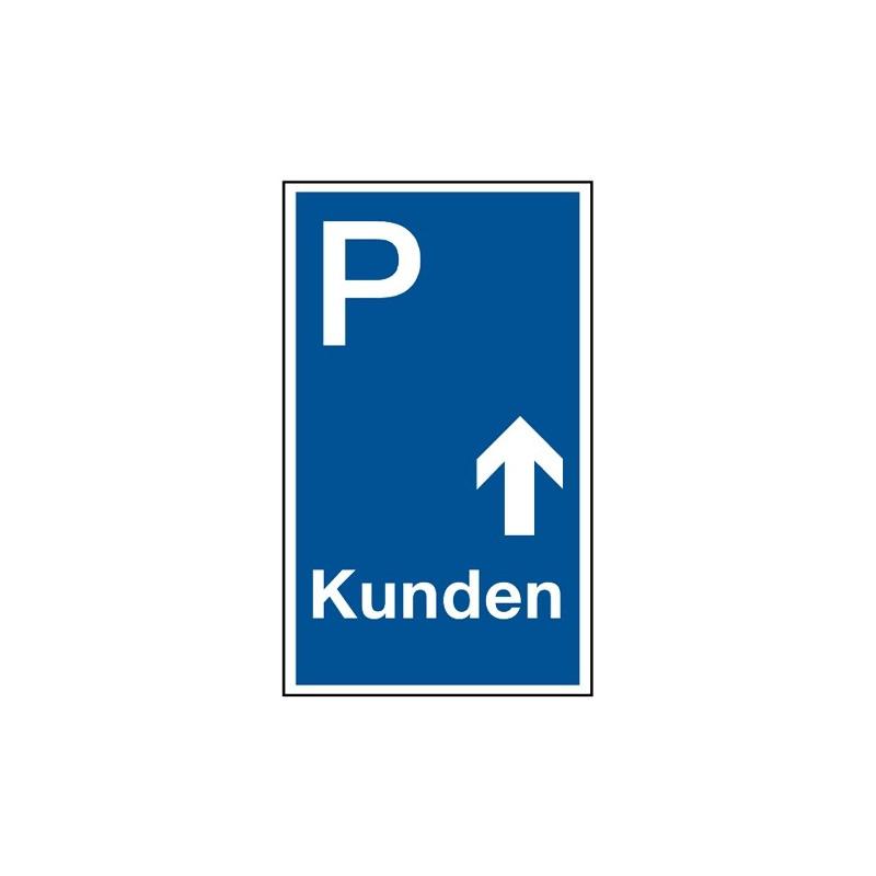 """Parkplatzkennzeichnung """"Kunden mit Pfeil geradeaus"""""""