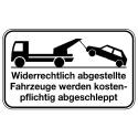 Kombischild: Abschleppsymbol mit Hinweistext